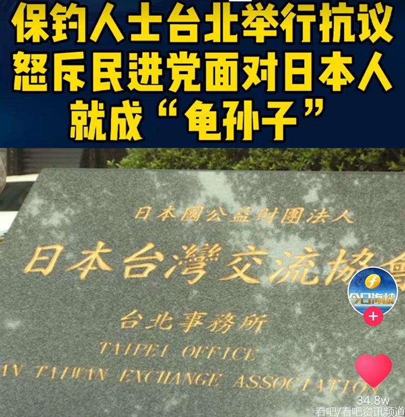 保钓人士在台北举行抗议,怒斥民进党对日本人就成龟孙子